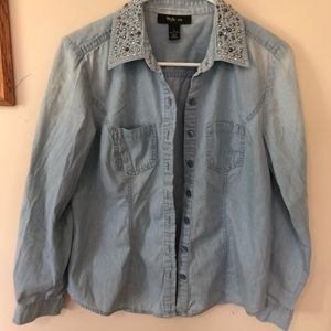 Style & Co Tops - Denim shirt with rhinestones on collar